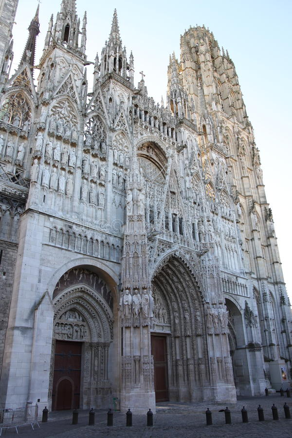 Rouen Cathedral, France. Front of Rouen Cathedral in the morning light stock images