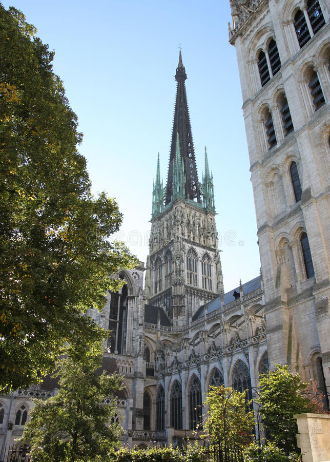 Rouen Cathedral spire. Normandy, France. Early morning spire and bell tower royalty free stock images