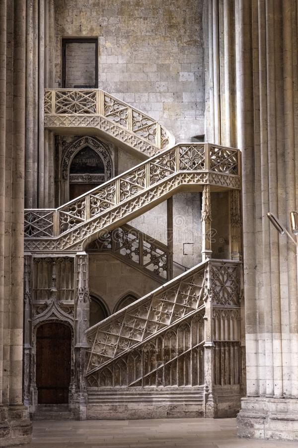 Interior of a Rouen Cathedral. Staircase to the library. Rouen France stock photo