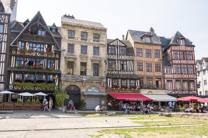 The Old Market Square once served as the execution ground . Today, it is one of the main squares of Rouen. France royalty free stock photo
