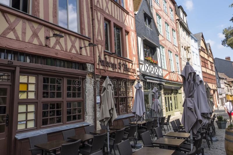 Street Cafe and old houses in the tourist center of Rouen, built in the traditional Normandy style. Rouen, France stock images