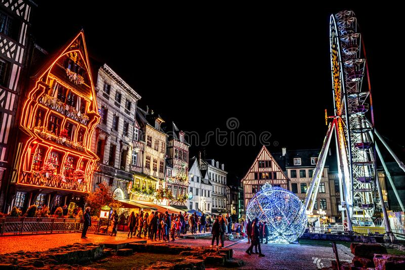 Place du Vieux Marche or old marketplace illuminated at night during Christmas period in Rouen Normandy France stock image