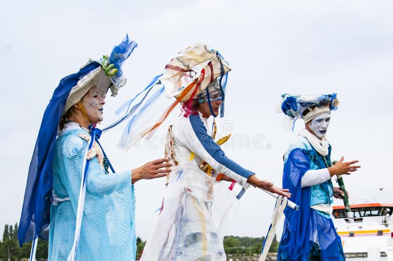 Performers in costume carnival for the parade of Armada. France royalty free stock photo