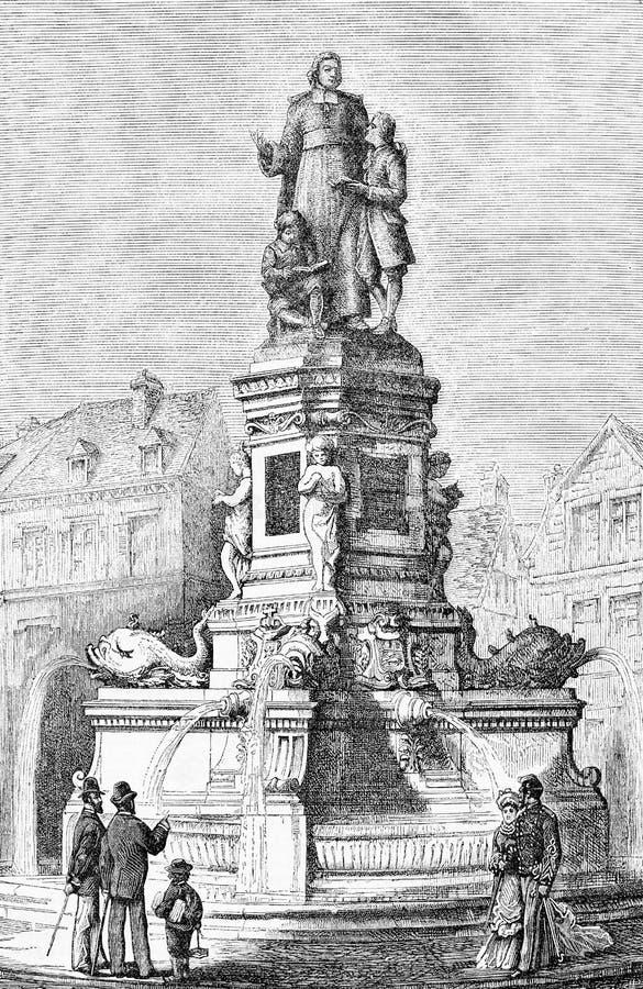 Rouen, France, monument à Jean-Baptiste de La Salle illustration stock