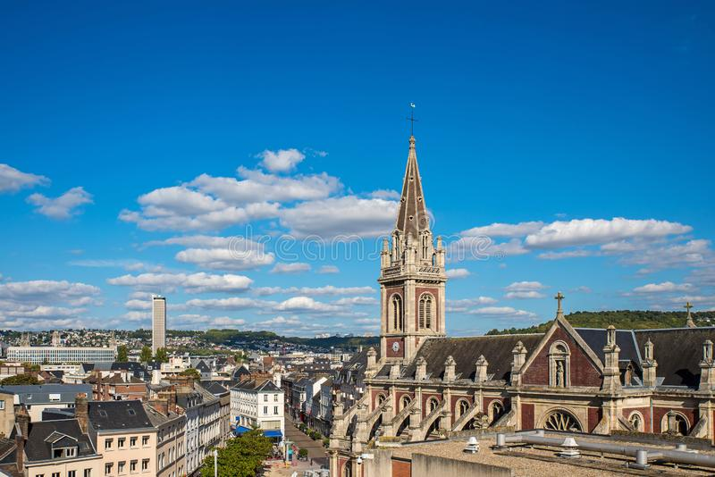 Rouen, France, Normandy. aerial view of old city. In sunny day royalty free stock photo