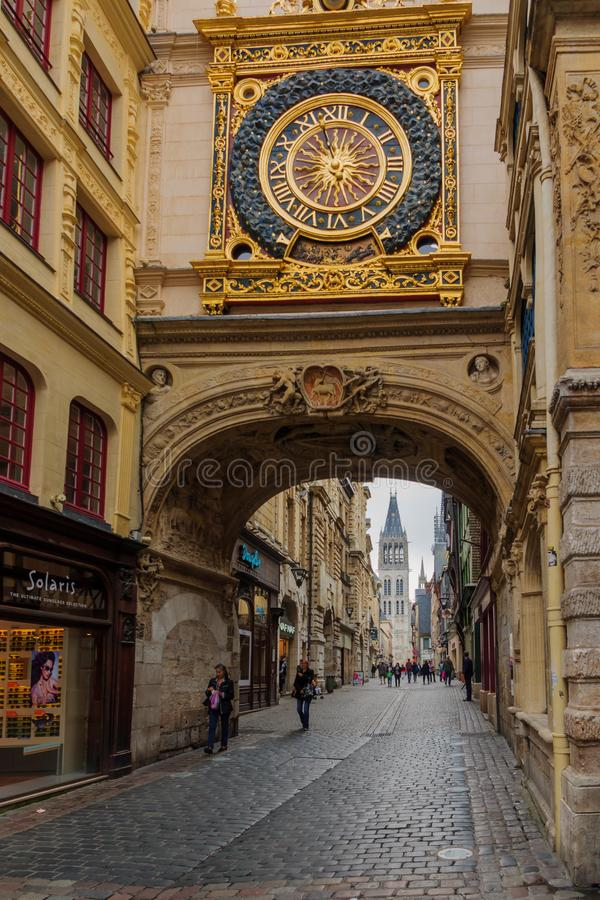 The Gros-Horloge Great-Clock, in Rouen royalty free stock images