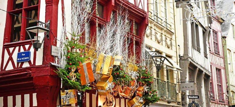 Rouen, Frankreich - 26. November 2016: das historische Stadtzentrum stockfoto
