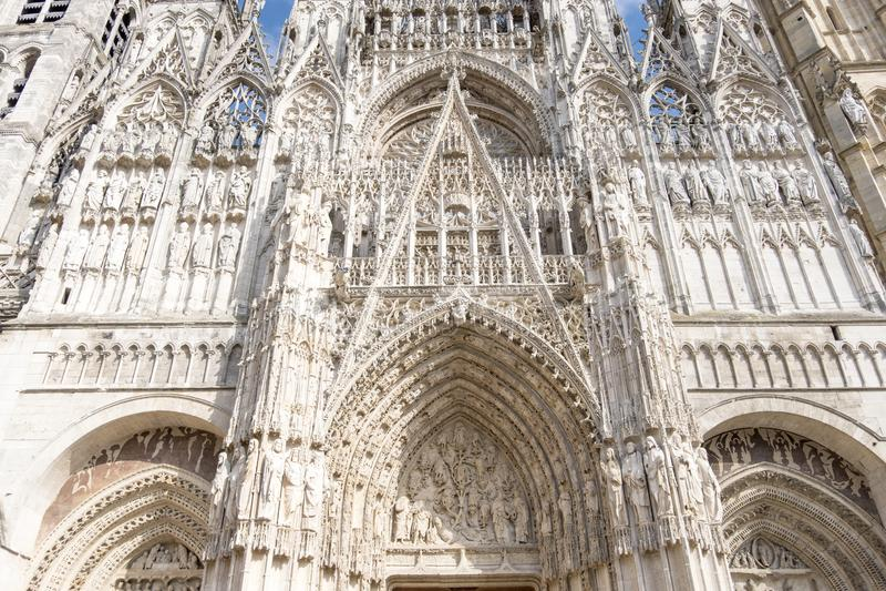 Rouen katedra Powierzchowność gothic katedra Haute Normandy, Francja obraz stock
