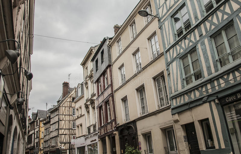 Rouen, Normandy, France, Europe - buildings in a street. stock photography
