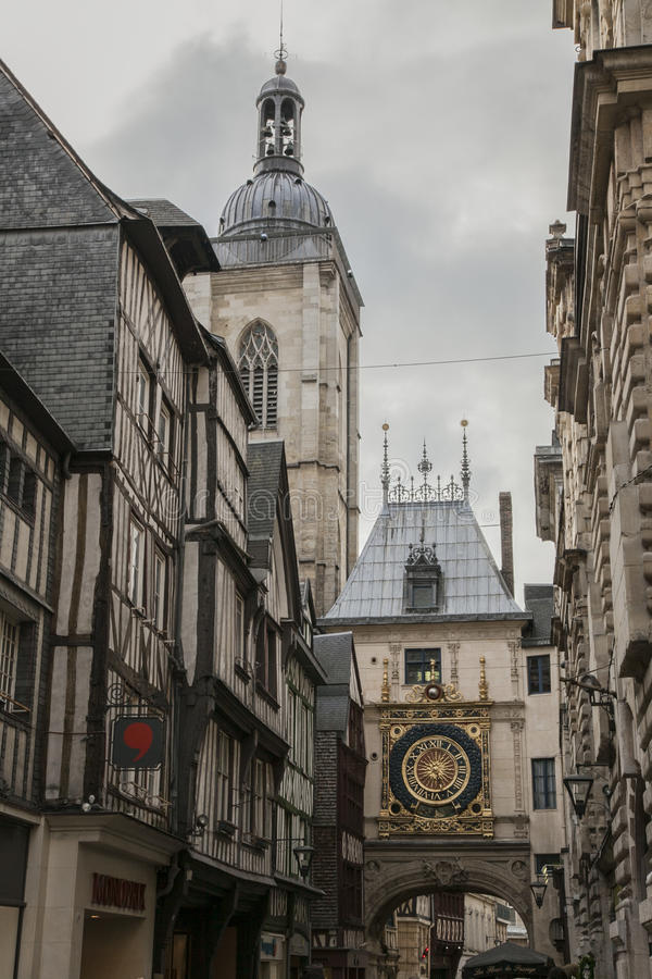 Rouen, Normandy, France, Europe - the old clock. stock photo