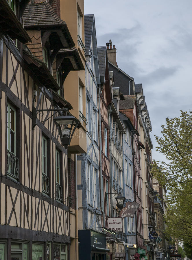 Rouen, Normandy, France, Europe - a street and a blue sky. royalty free stock photography