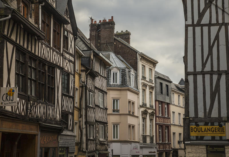 Rouen, Normandy, France, Europe - a street. royalty free stock photography
