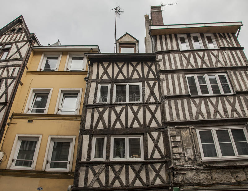 Rouen, Normandy, France, Europe - townhouses lookingup. royalty free stock images