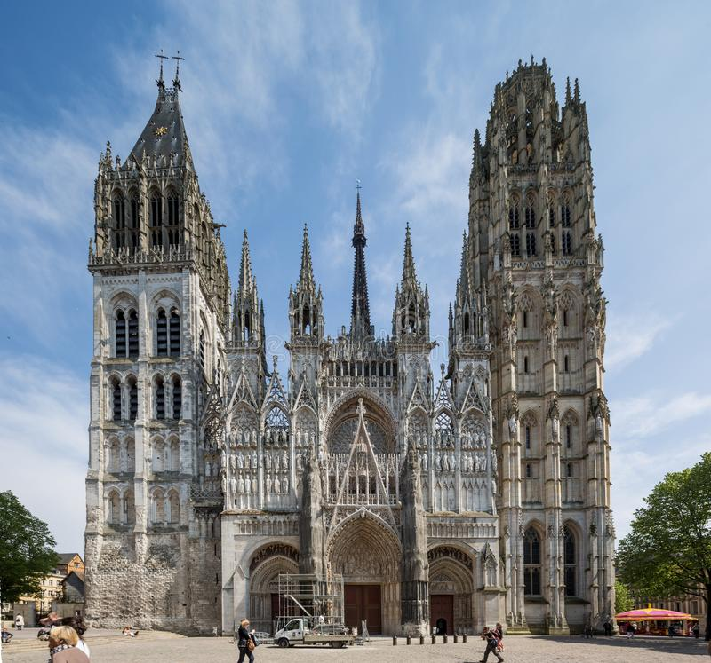 Rouen Normandy May 4th 2013 Rouen Cathedral fascia being prepare royalty free stock photo