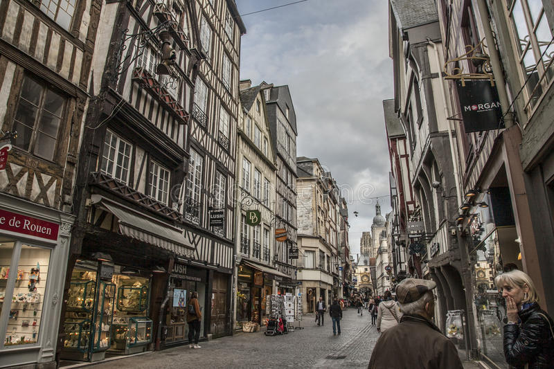 Rouen, Normandy - a street full of people. royalty free stock images