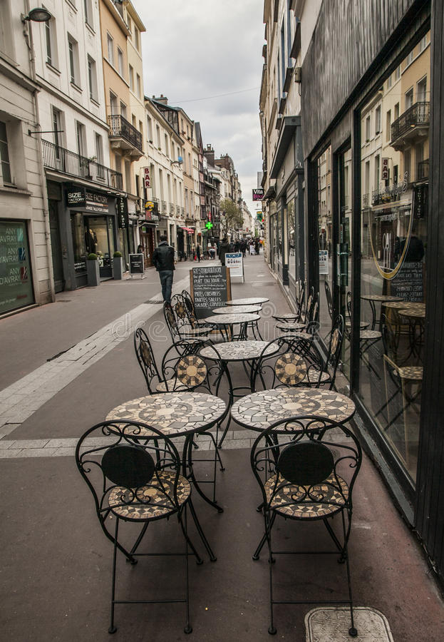 Rouen, Normandy - tables in the street. stock images