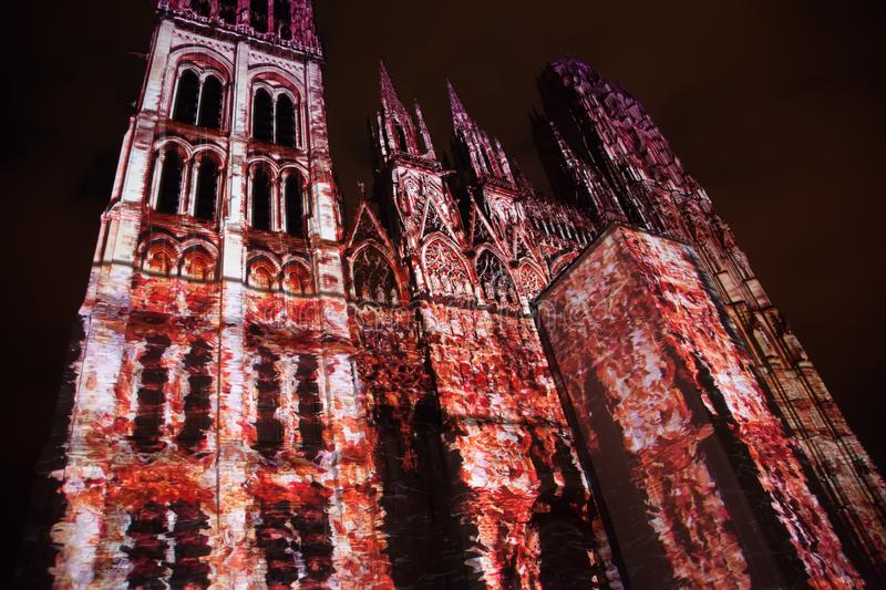 Rouen`s Cathedral Light show illuminates the gothic cathedral in the Normandy city of Rouen France late in the evening royalty free stock photos