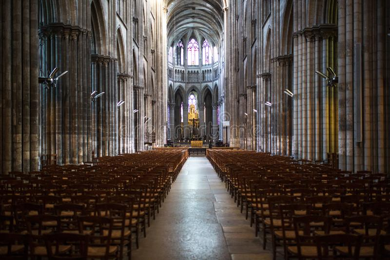 Rouen Saint Cathedrale interior view with sunlights. Ghotic church interior view with sunlights stock photo
