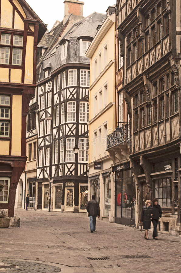 Rouen traditional street houses stock photography