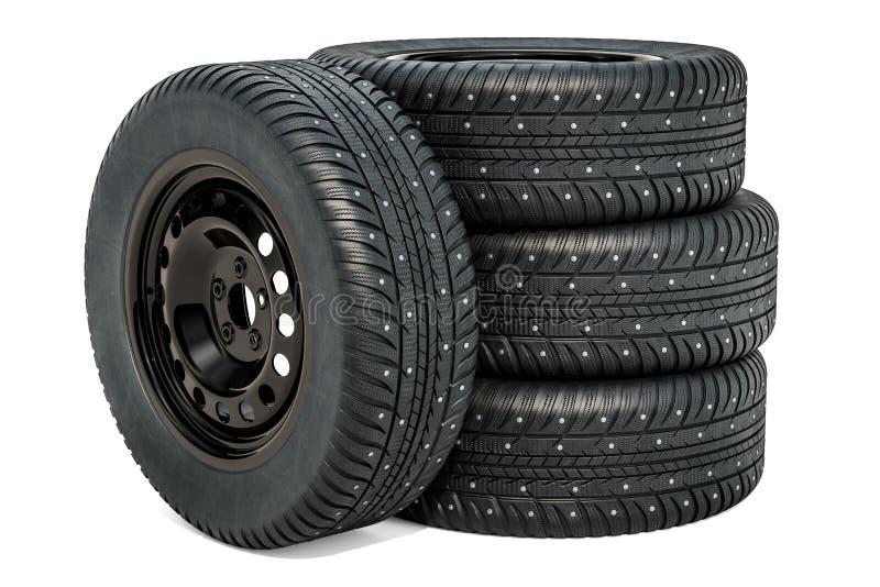 Roues de voiture avec des pneus d'hiver rendu 3d illustration libre de droits
