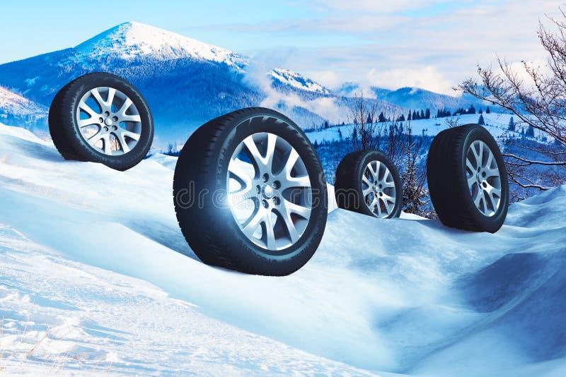 Roues de voiture avec les pneus tous terrains d'hiver sur la neige illustration de vecteur