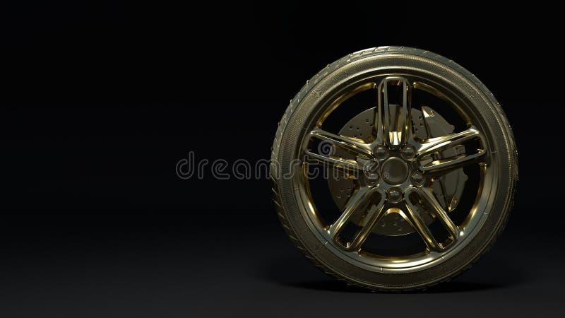 Roues de voiture d'or et roues d'alliage illustration stock