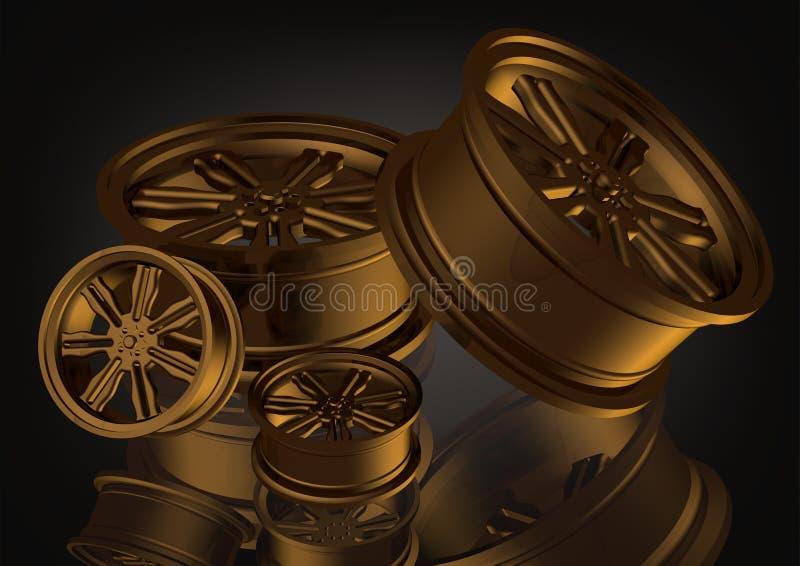 Roues de voiture d'or sur un noir illustration libre de droits