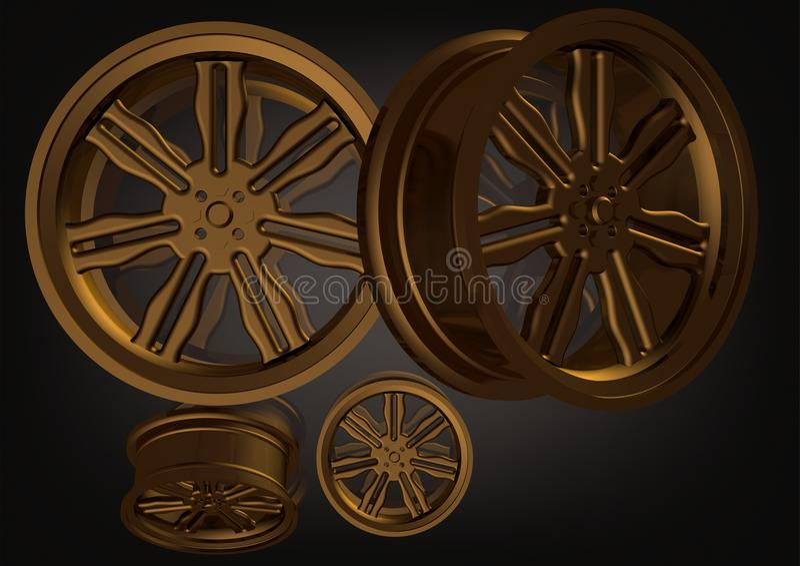 Roues de voiture d'or sur un noir illustration stock