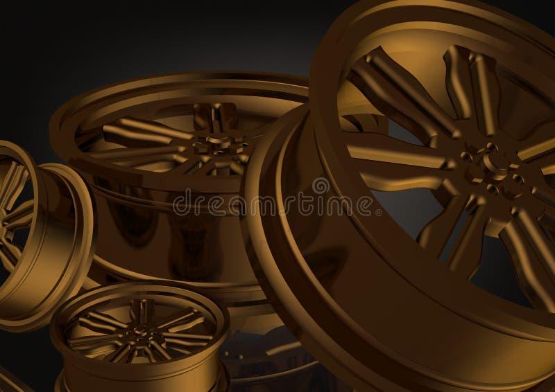 Roues de voiture d'or sur un noir illustration de vecteur