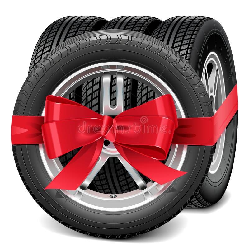 Roues de voiture de vecteur avec l'arc rouge illustration stock
