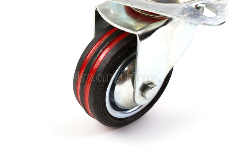 Roues en caoutchouc de roulette de pivot simple industriel de chariot photos libres de droits