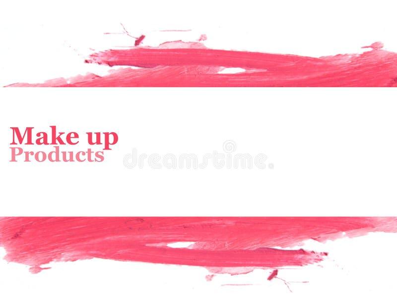 Rouge à lèvres de couleur enduit pour la conception de bannière de l'espace pour le texte photos stock