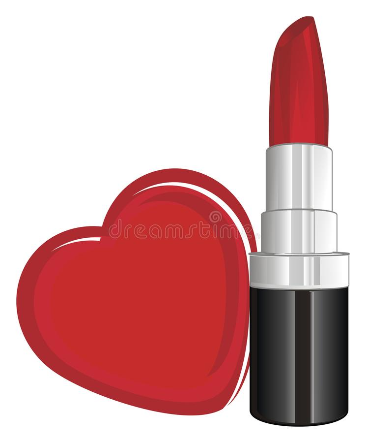 Rouge à lèvres et coeur illustration libre de droits