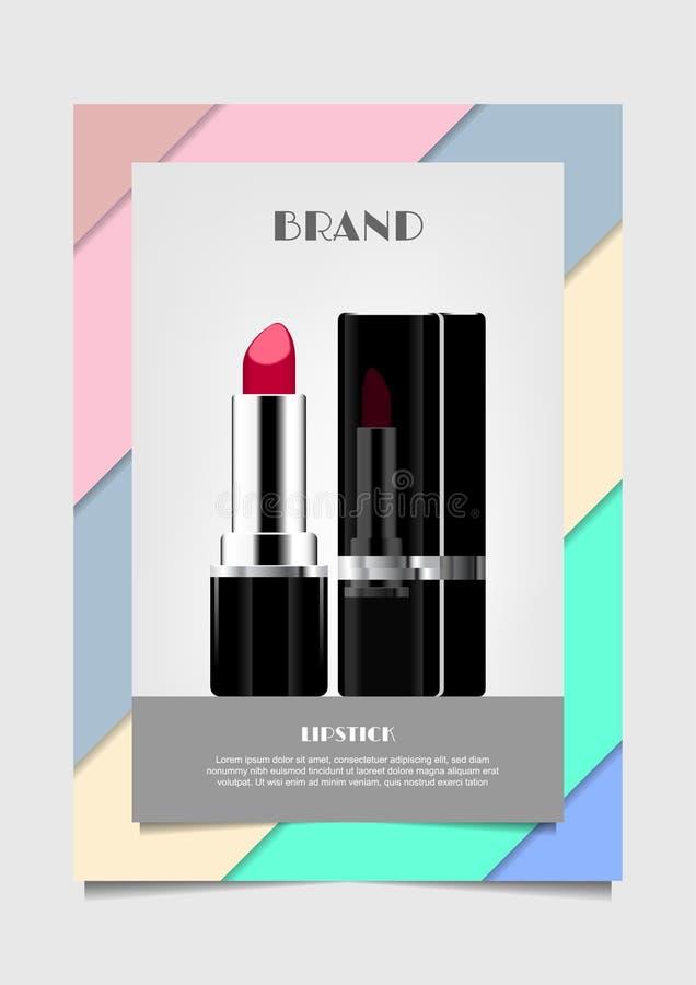 Rouge à lèvres rouge sur l'annonce cosmétique de vecteur de fond de couleur en pastel pour p illustration stock