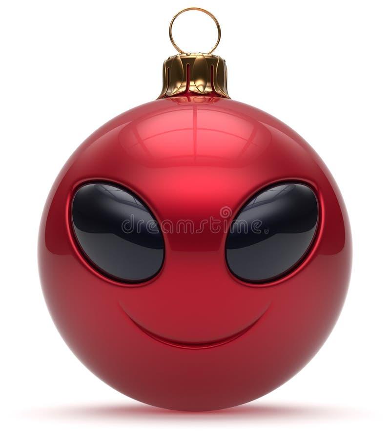 Rouge étranger souriant de babiole de bonne année de boule de Noël de visage illustration stock
