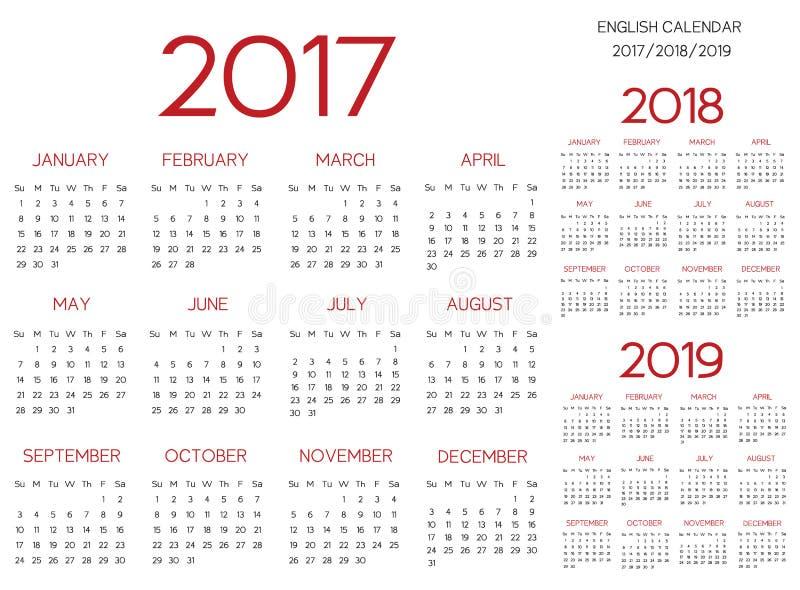 Rouge anglais de vecteur du calendrier 2017-2018-2019 illustration libre de droits