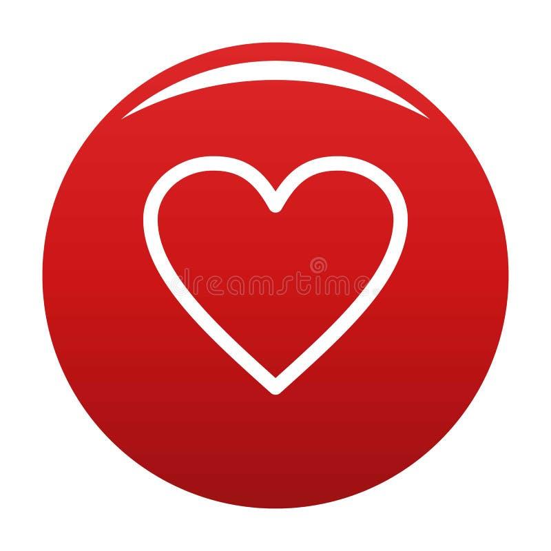 Rouge ardent de vecteur d'icône de coeur illustration stock