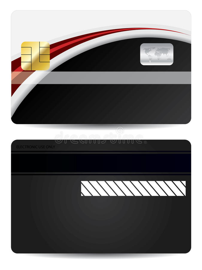 Rouge avec la carte de côté noire illustration stock