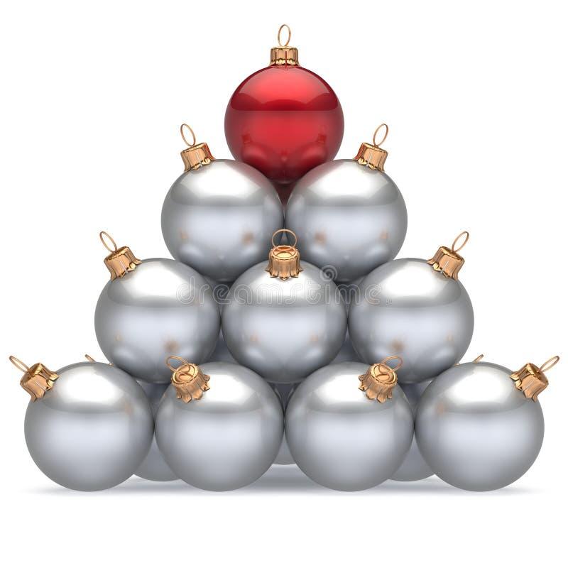 Rouge blanc de chef de boules de Noël de pyramide sur la première victoire d'endroit de dessus illustration de vecteur