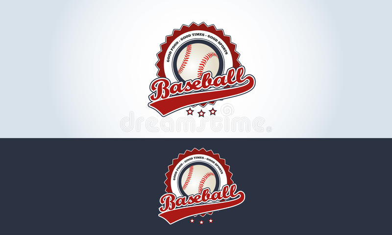 Rouge, blanc et bleu, barre de sports de logo de base-ball illustration stock