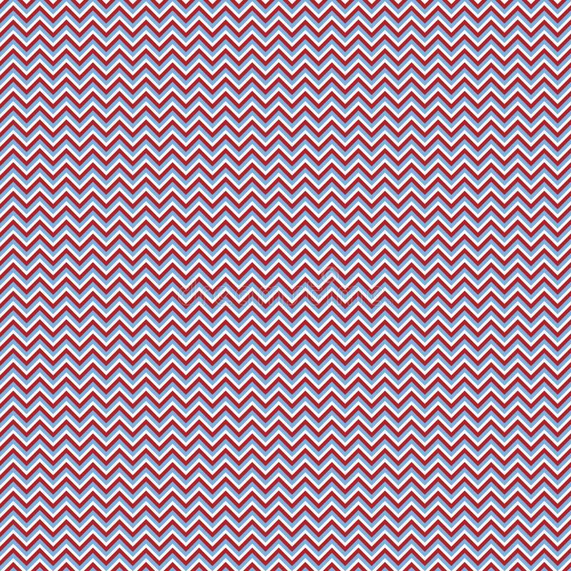 Rouge, Blauw, en Wit Zigzagpatroon stock illustratie