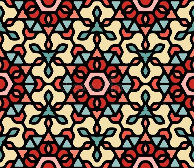 Rouge bleu coloré sans couture Mandala Pattern hexagonale orientale florale arrondie par blanc de vecteur illustration stock
