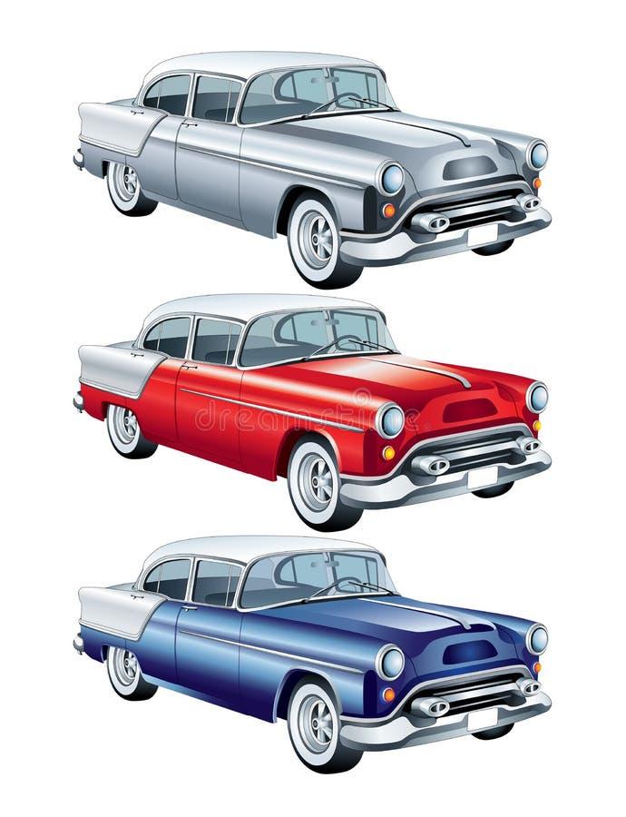 Rouge, bleu et rétro voiture argentée  illustration libre de droits