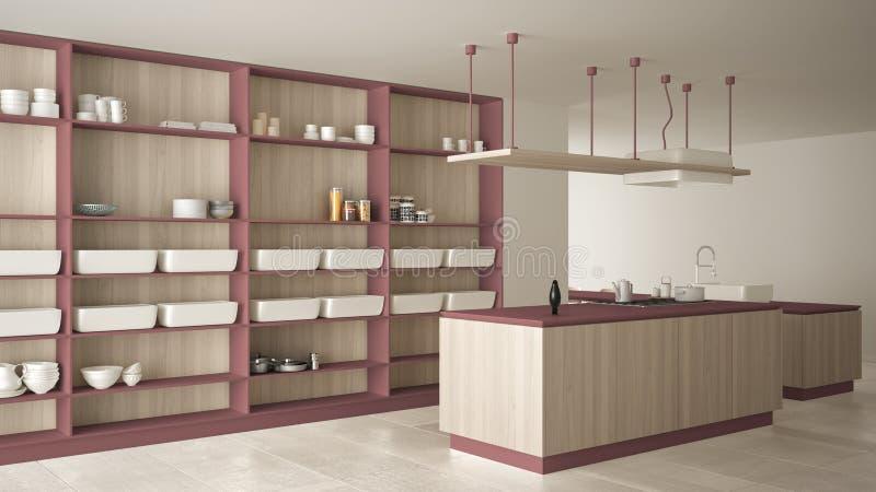 Rouge cher de luxe minimaliste et fraise-mère en bois de cuisine, d'île, d'évier et de gaz, l'espace ouvert, plancher en céramiqu illustration stock