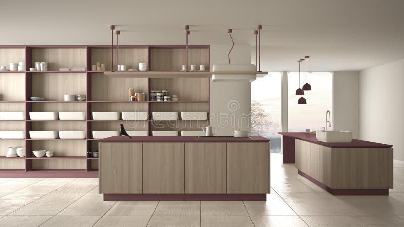 Rouge cher de luxe minimaliste et fraise-m?re en bois de cuisine, d'?le, d'?vier et de gaz, l'espace ouvert, fen?tre panoramique, illustration stock