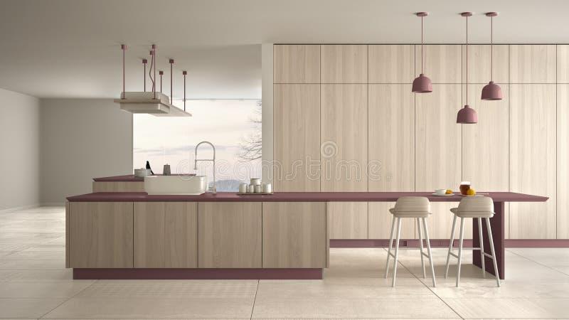 Rouge cher de luxe minimaliste et fraise-m?re en bois de cuisine, d'?le, d'?vier et de gaz, l'espace ouvert, fen?tre panoramique, illustration libre de droits