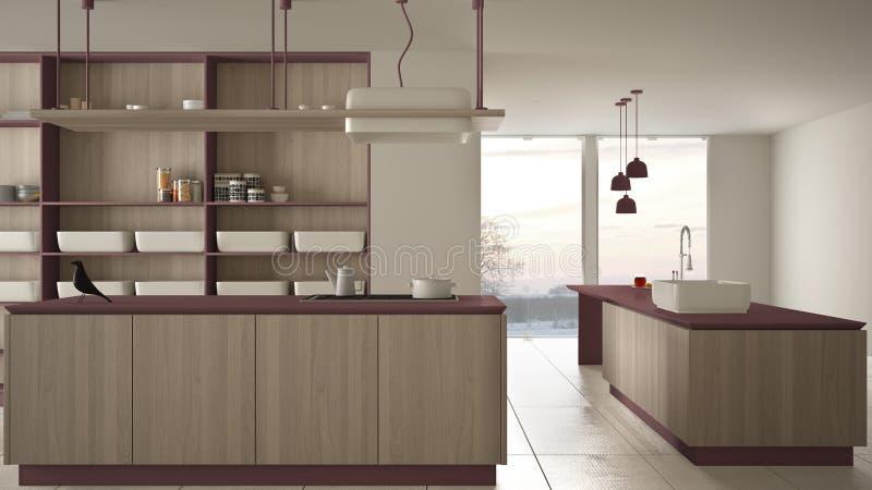 Rouge cher de luxe minimaliste et fraise-m?re en bois de cuisine, d'?le, d'?vier et de gaz, l'espace ouvert, fen?tre panoramique, illustration de vecteur