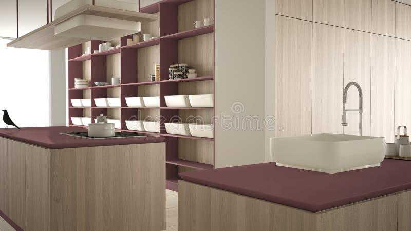 Rouge cher de luxe minimaliste et fraise-m?re en bois de cuisine, d'?le, d'?vier et de gaz, l'espace ouvert, plancher en c?ramiqu illustration stock