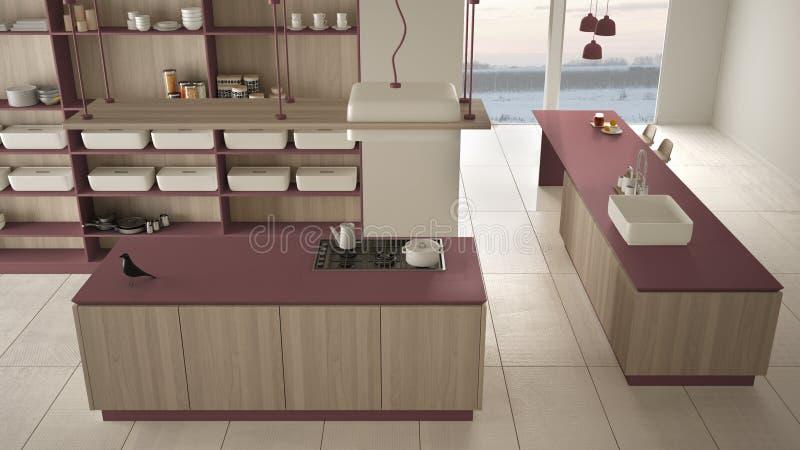 Rouge cher de luxe minimaliste et fraise-m?re en bois de cuisine, d'?le, d'?vier et de gaz, l'espace ouvert, plancher en c?ramiqu illustration libre de droits