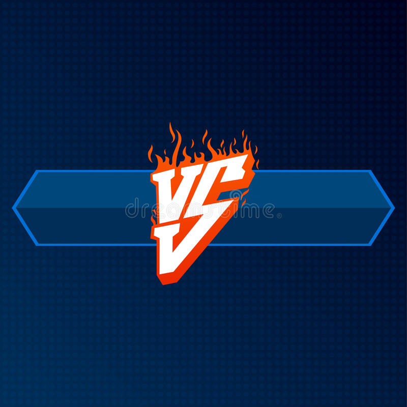 Rouge contre le logo avec le conseil bleu CONTRE l'illustration de lettres Icône de concurrence Symbole de combat illustration stock